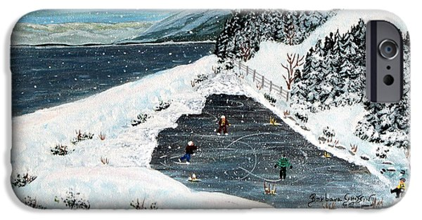 Hockey Paintings iPhone Cases - Skating on Pond Garden iPhone Case by Barbara Griffin
