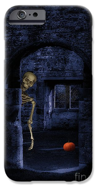 Head Stone iPhone Cases - Skeleton At Halloween iPhone Case by Amanda And Christopher Elwell