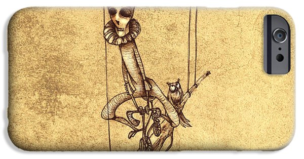 People Drawings iPhone Cases - Skeleton On Cycle iPhone Case by Autogiro Illustration