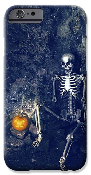 Head Stone iPhone Cases - Skeleton With Jack O Lantern iPhone Case by Amanda And Christopher Elwell