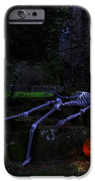 Creepy iPhone Cases - Skeleton With Pumpkin iPhone Case by Amanda And Christopher Elwell