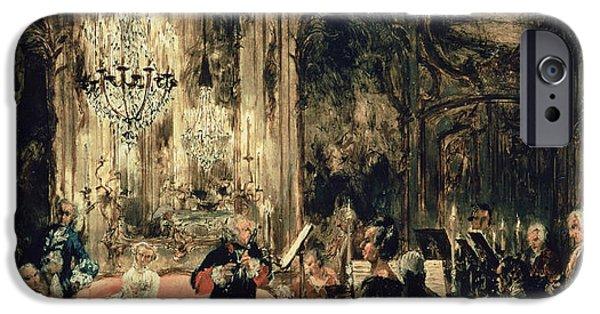 Sketch iPhone Cases - Sketch for The Flute Concert iPhone Case by Adolph Friedrich Erdmann von Menzel