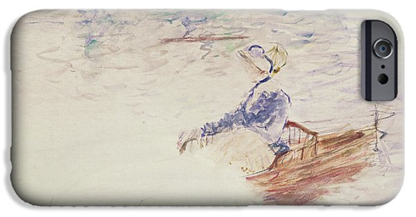 Female Drawings iPhone Cases - Sketch of a Young Woman in a Boat iPhone Case by Berthe Morisot