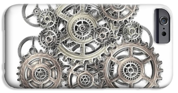 Mechanism Mixed Media iPhone Cases - Sketch Of Machinery iPhone Case by Michal Boubin