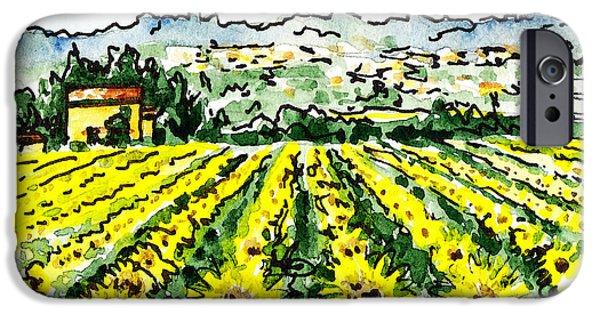 Crops Paintings iPhone Cases - Sketching Italy Sunflowers of Tuscany iPhone Case by Irina Sztukowski