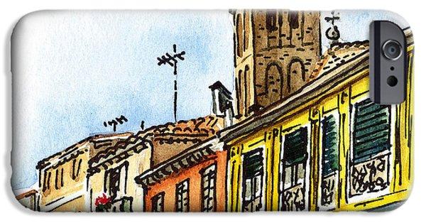 History Channel iPhone Cases - Sketching Italy Venice Via Nuova iPhone Case by Irina Sztukowski