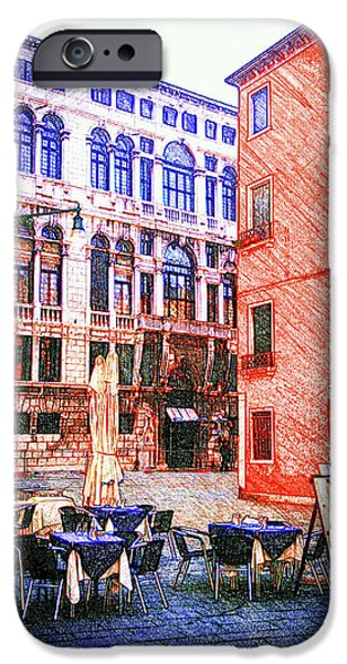 Balcony Pastels iPhone Cases - Sketching Venice iPhone Case by Patrizia  Fazzari