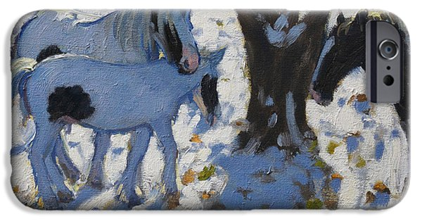 Animal Cards iPhone Cases - Skewbald Ponies in Winter iPhone Case by Andrew Macara