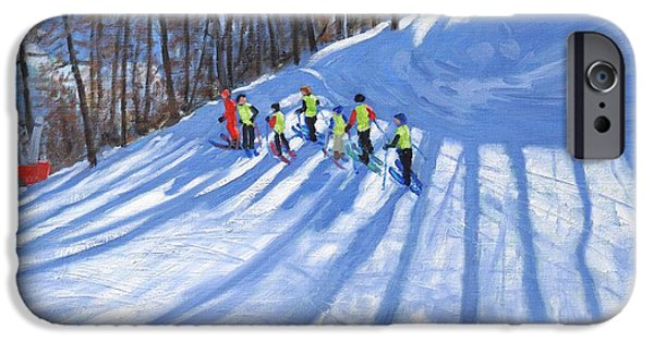 Winter Sports Paintings iPhone Cases - Ski lesson iPhone Case by Andrew Macara