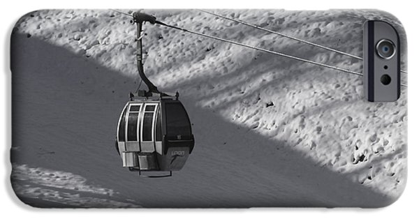 Snowy Day iPhone Cases - Ski lift iPhone Case by Claudia Mottram
