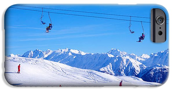Snowy Day iPhone Cases - Ski Lift In Mountains Switzerland iPhone Case by Panoramic Images