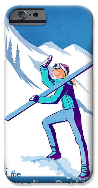 Skiing Posters Paintings iPhone Cases - Ski the Rockies iPhone Case by Sassan Filsoof