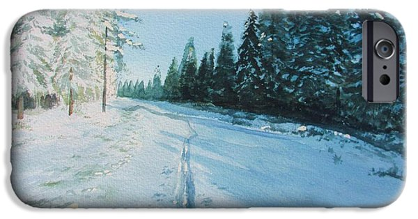 Wintertime iPhone Cases - Ski Tracks iPhone Case by Martin Howard