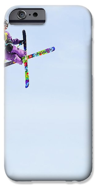 Skiing Art iPhone Cases - Ski X iPhone Case by Theresa Tahara