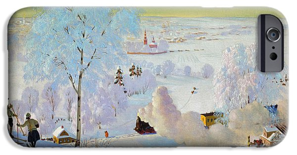 Sports Paintings iPhone Cases - Skiers iPhone Case by Boris Mikhailovich Kustodiev