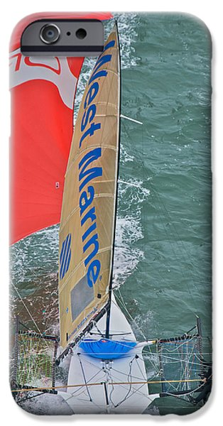 Skiff iPhone Cases - Skiff Downwind iPhone Case by Steven Lapkin