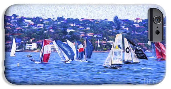 Skiff iPhone Cases - Skiff race on Sydney Harbour iPhone Case by Sheila Smart