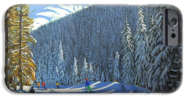 Skiing iPhone Cases - Skiing  Beauregard La Clusaz iPhone Case by Andrew Macara