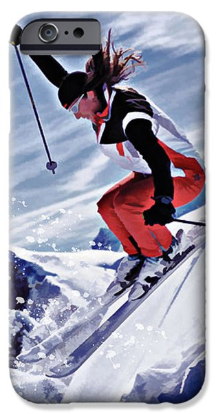 Skiing Action Paintings iPhone Cases - Skiing Down the Mountain in Red iPhone Case by Elaine Plesser