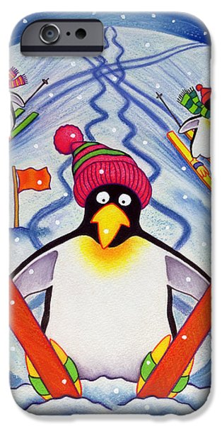 Winter iPhone Cases - Skiing Holiday, 2000 Wc And Pastel On Paper iPhone Case by Cathy Baxter