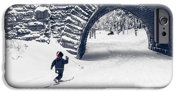 Maine iPhone Cases - Skiing in Acadia National Park iPhone Case by Edward Fielding