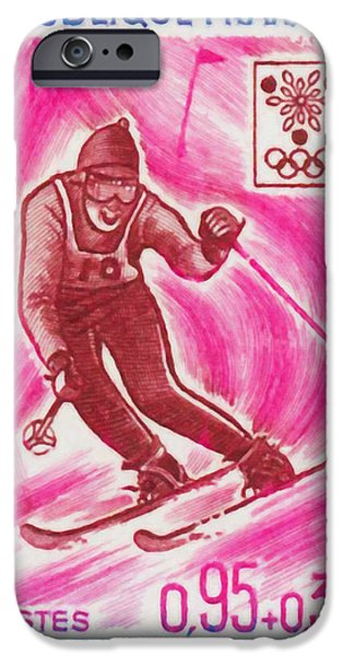 Skiing Posters Paintings iPhone Cases - Skiing iPhone Case by Lanjee Chee