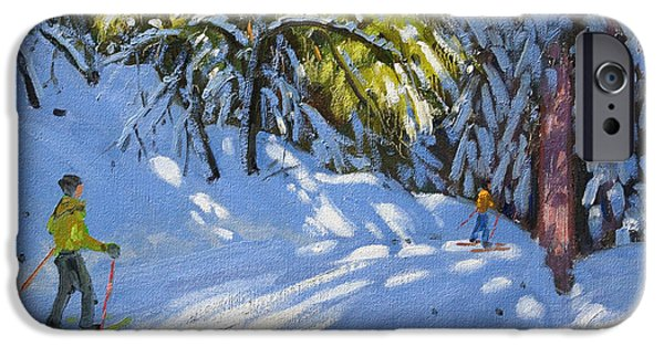 Winter Sports Paintings iPhone Cases - Skiing through the Woods  La Clusaz iPhone Case by Andrew Macara