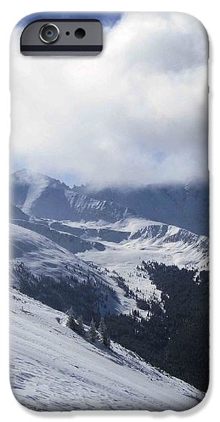 Skiing With A View iPhone Case by Fiona Kennard