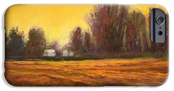 Agricultural Pastels iPhone Cases - Skillter Farm Winter iPhone Case by Arlene Baller