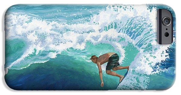 Board Paintings iPhone Cases - Skimboard Surfer iPhone Case by Alice Leggett
