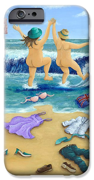 Bathing iPhone Cases - Skinny Dippers iPhone Case by Peter Adderley
