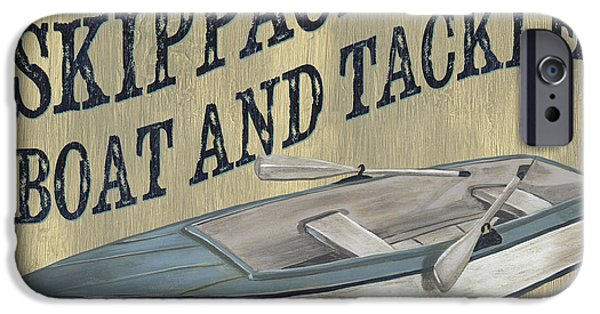 Graphic Design Paintings iPhone Cases - Skippack Boat and Tackle iPhone Case by Debbie DeWitt