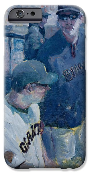 Baseball Art Paintings iPhone Cases - Skipper at the Helm iPhone Case by Darren Kerr
