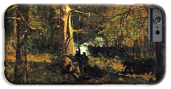 Autumn Scenes iPhone Cases - Skirmish in the Wilderness iPhone Case by Winslow Homer