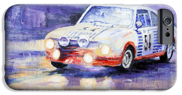 Rally iPhone Cases - Skoda 130 RS Rally Monte Carlo 1977 iPhone Case by Yuriy Shevchuk