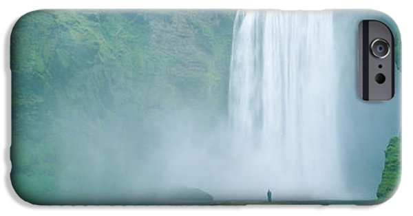 Fall iPhone Cases - Skogafoss Falls, Skogar River, Iceland iPhone Case by Panoramic Images
