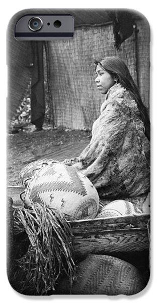 Basket iPhone Cases - Skokomish girl circa 1913 iPhone Case by Aged Pixel