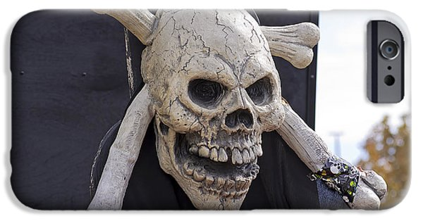 Pirate Ship iPhone Cases - Skull and Crossbones iPhone Case by Kenneth Albin