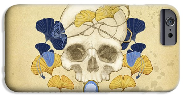 Skull iPhone Cases - Skull and Ginkgo iPhone Case by Catherine Noel