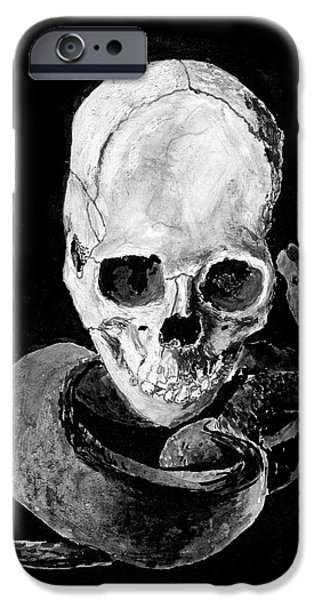 Recently Sold -  - Concept Paintings iPhone Cases - Skull and Snake iPhone Case by Jakub DK