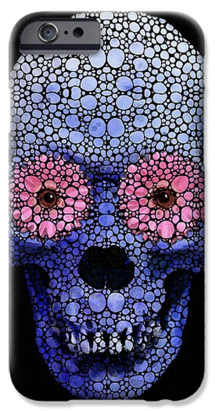Strange iPhone Cases - Skull Art - Day Of The Dead 1 Stone Rockd iPhone Case by Sharon Cummings