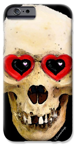 Strange iPhone Cases - Skull Art - Day Of The Dead 2 iPhone Case by Sharon Cummings