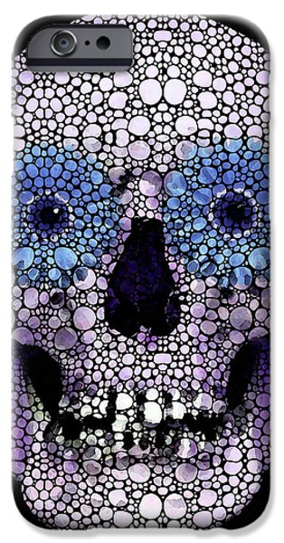 Buying Online Digital Art iPhone Cases - Skull Art - Day Of The Dead 2 Stone Rockd iPhone Case by Sharon Cummings