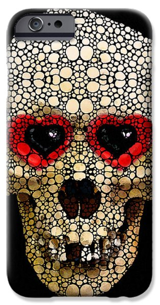 Strange iPhone Cases - Skull Art - Day Of The Dead 3 Stone Rockd iPhone Case by Sharon Cummings