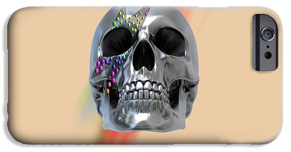 Animation iPhone Cases - Skull Bowie  iPhone Case by Mark Ashkenazi