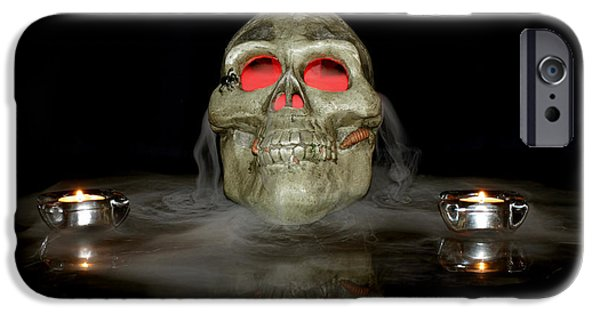 Fog Mist iPhone Cases - Skull iPhone Case by Candy Frangella