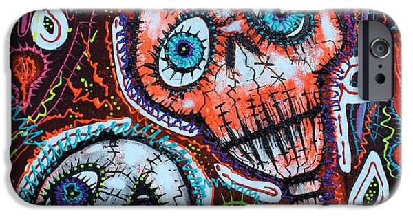 Drama Mixed Media iPhone Cases - Skull Crew iPhone Case by Laura Barbosa