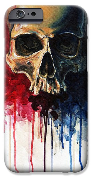 Drips Paintings iPhone Cases - Skull iPhone Case by David Kraig