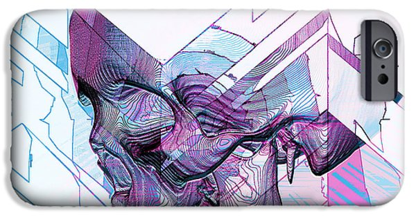 Blue Abstracts Tapestries - Textiles iPhone Cases - Skull Glitch iPhone Case by Marcus Mattern