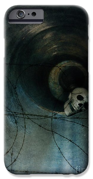 Missing Teeth iPhone Cases - Skull in Drainpipe iPhone Case by Jill Battaglia